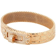 Hermès Kelly 18k Rose Gold and Diamond Milanese Mesh Bracelet