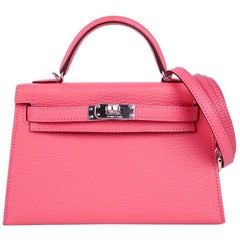 Hermes Kelly 20 Bag Mini Sellier Rose Lipstick Chevre Leather Palladium Hardware