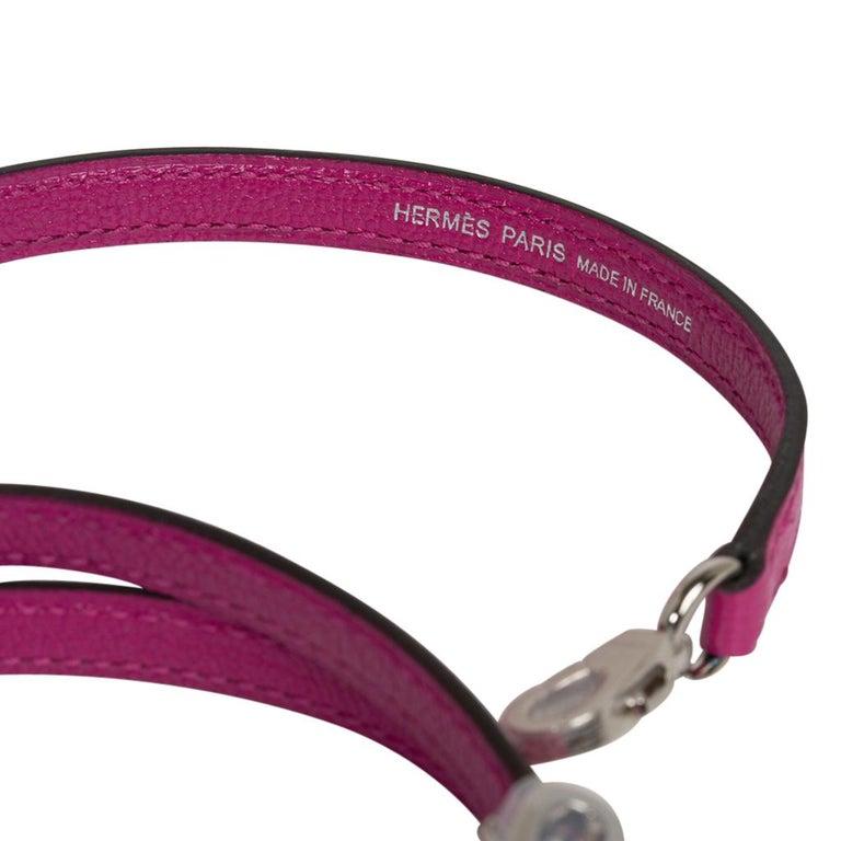 Hermes Kelly 20 Mini Sellier Bag Rose Pourpre Chevre Leather Palladium New w/Box For Sale 6