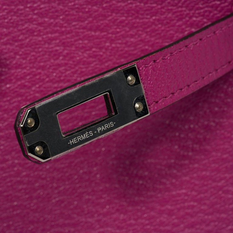 Pink Hermes Kelly 20 Mini Sellier Bag Rose Pourpre Chevre Leather Palladium New w/Box For Sale