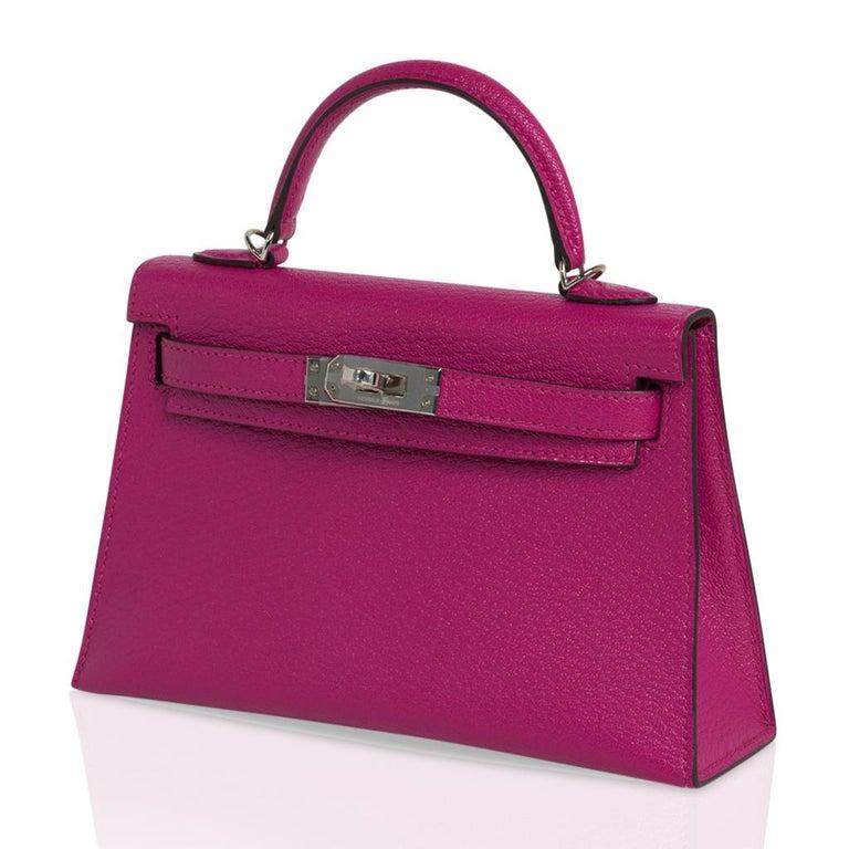 Hermes Kelly 20 Mini Sellier Bag Rose Pourpre Chevre Leather Palladium New w/Box For Sale 1