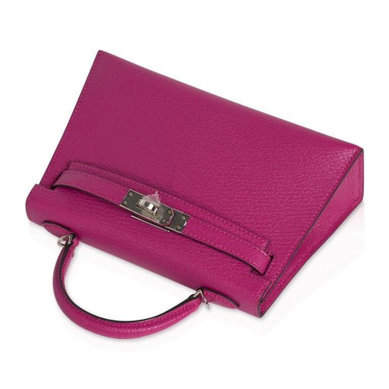 Women's Hermes Kelly 20 Mini Sellier Bag Rose Pourpre Chevre Leather Palladium New w/Box For Sale