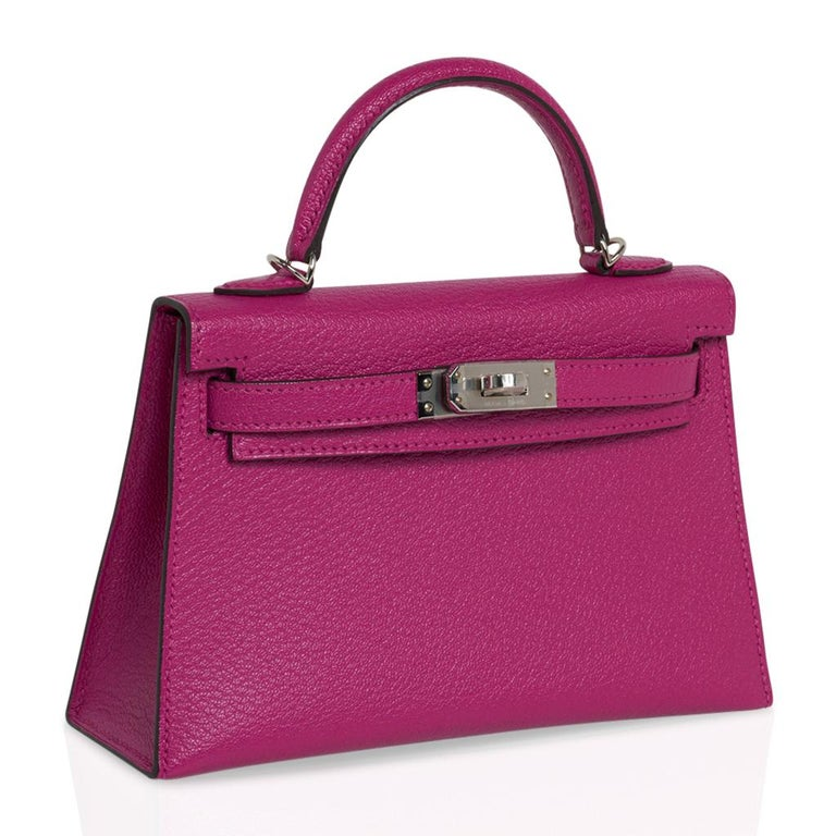 Hermes Kelly 20 Mini Sellier Bag Rose Pourpre Chevre Leather Palladium New w/Box In New Condition For Sale In Miami, FL