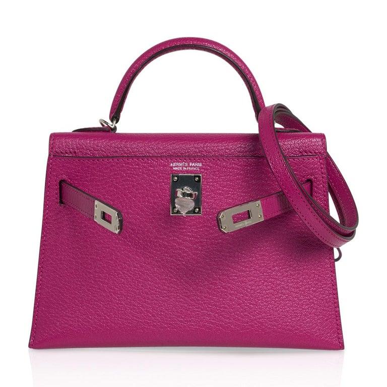 Hermes Kelly 20 Mini Sellier Bag Rose Pourpre Chevre Leather Palladium New w/Box For Sale 2