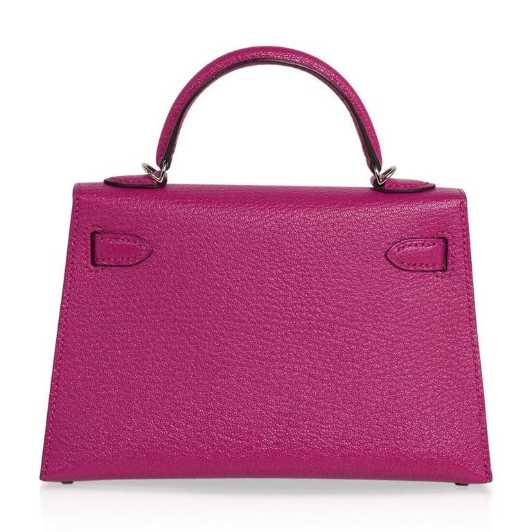 Hermes Kelly 20 Mini Sellier Bag Rose Pourpre Chevre Leather Palladium New w/Box For Sale 3