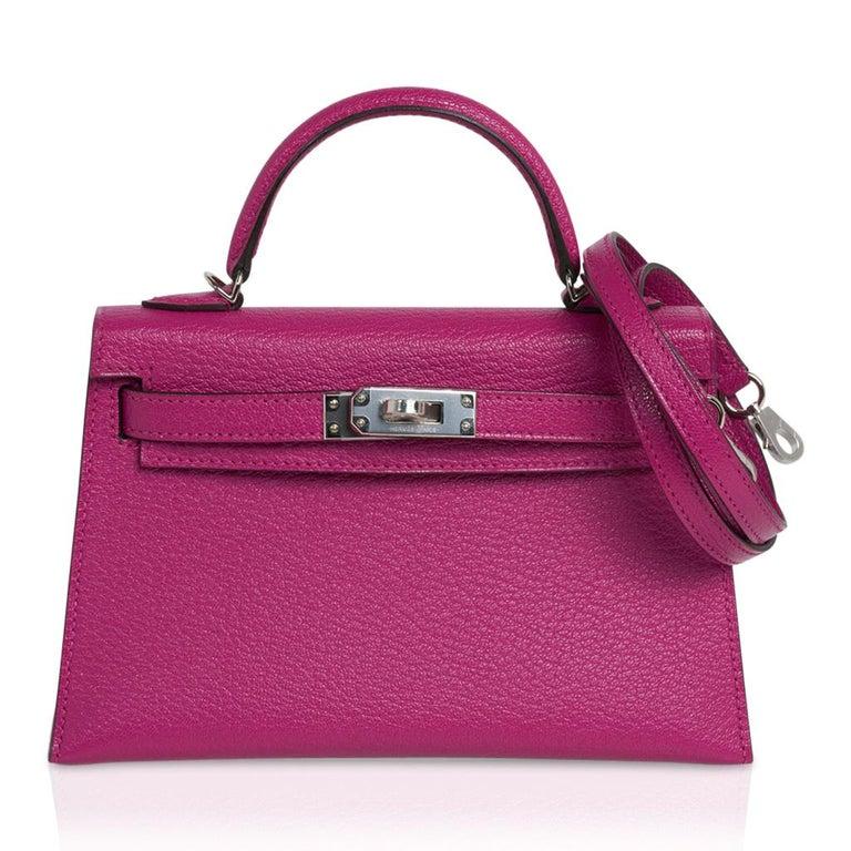 Hermes Kelly 20 Mini Sellier Bag Rose Pourpre Chevre Leather Palladium New w/Box For Sale 4
