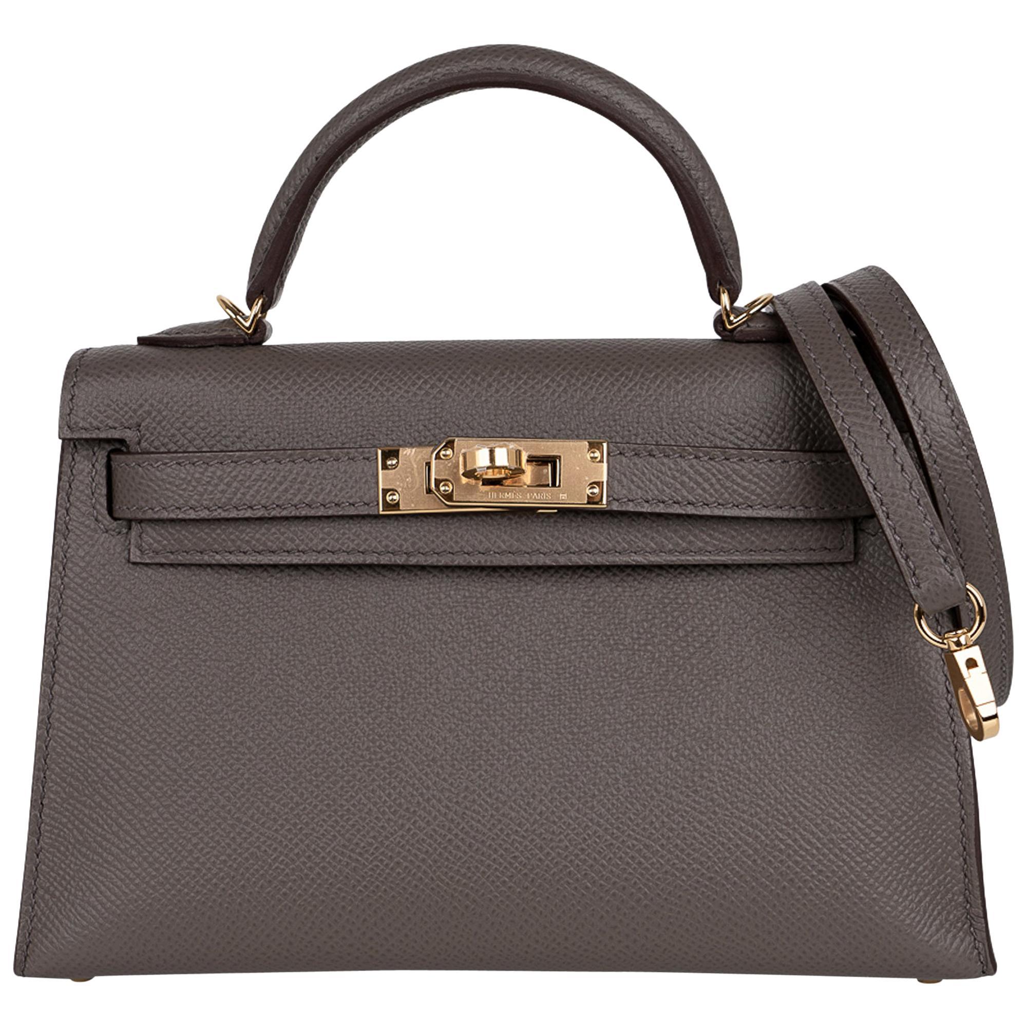 Hermes Kelly 20 Mini Sellier Bag Etain Epsom Leather Gold Hardware