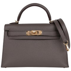 Hermes Kelly 20 Mini Sellier Bag Etain Epsom Leather Gold Hardware