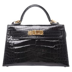 Hermes Kelly 20 Mini Black Alligator Gold Top Handle Satchel Shoulder Bag in Box