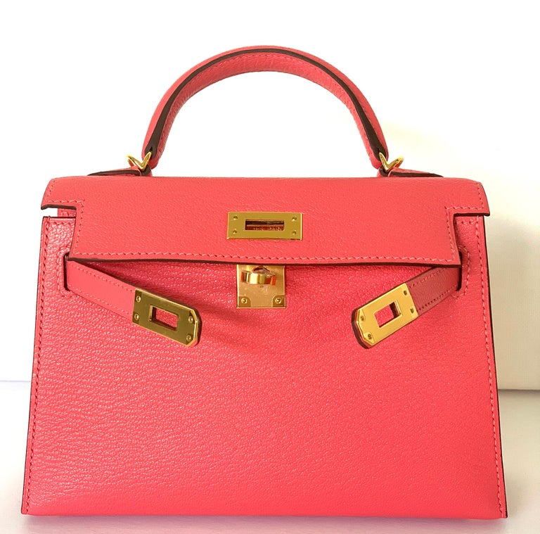 Hermes Kelly 20cm Rose Lipstick , very rare color, most sought after This is a true treasure You wont find this Very Rare Chevre Leather, one of the most durable leathers Hermes makes, which is why its so collected Gold Hardware Sellier  Removable