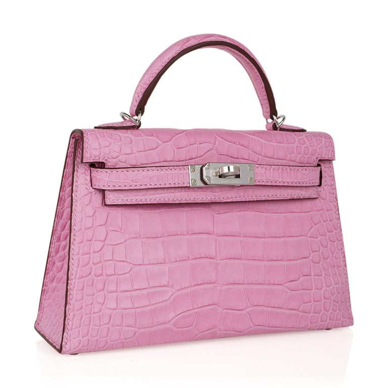 Women's Hermes Kelly 20 Mini Sellier Bag 5P Pink Matte Alligator Palladium Limited  For Sale