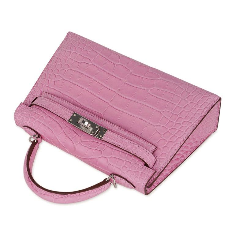 Hermes Kelly 20 Mini Sellier Bag 5P Pink Matte Alligator Palladium Limited  For Sale 1