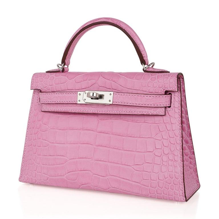 Hermes Kelly 20 Mini Sellier Bag 5P Pink Matte Alligator Palladium Limited  For Sale 2