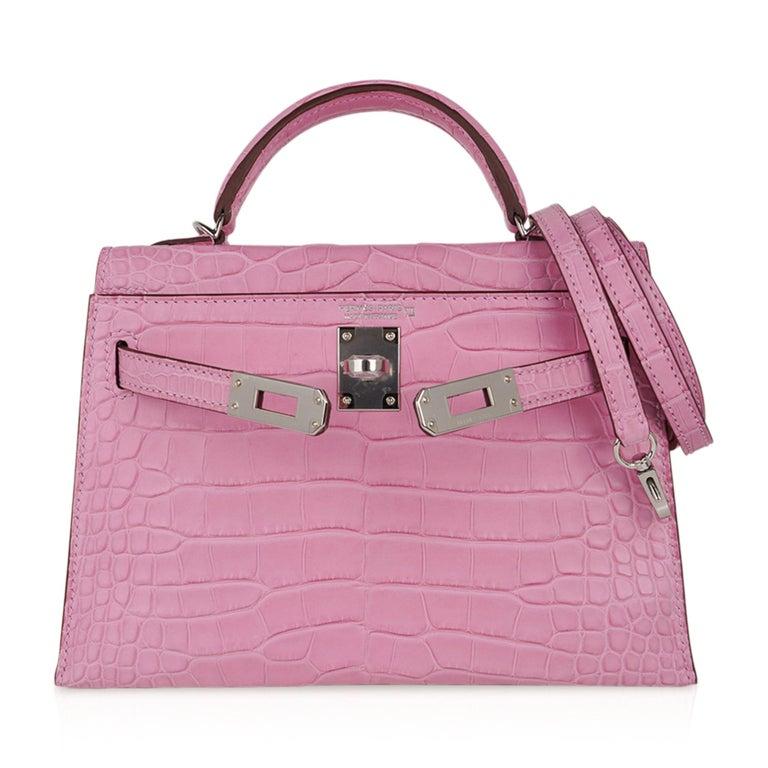 Hermes Kelly 20 Mini Sellier Bag 5P Pink Matte Alligator Palladium Limited  For Sale 3