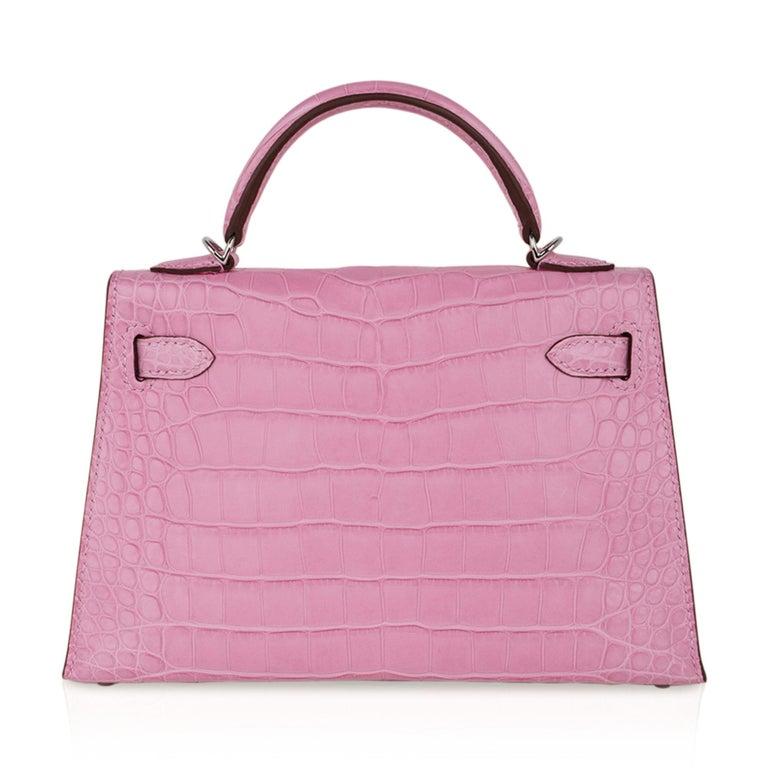 Hermes Kelly 20 Mini Sellier Bag 5P Pink Matte Alligator Palladium Limited  For Sale 5