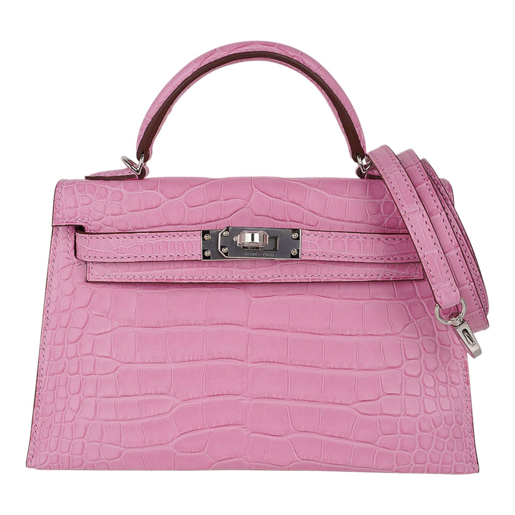 Hermes Kelly 20 Mini Sellier Bag 5P Pink Matte Alligator Palladium Limited