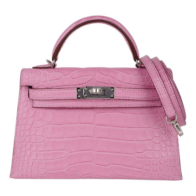 Hermes Kelly 20 Mini Sellier Bag 5P Pink Matte Alligator Palladium Limited  For Sale