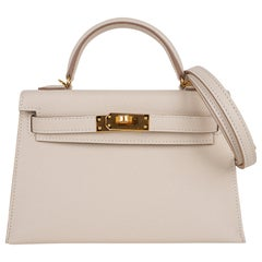 Hermes Kelly 20 Mini Sellier Bag Craie Epsom Gold Hardware
