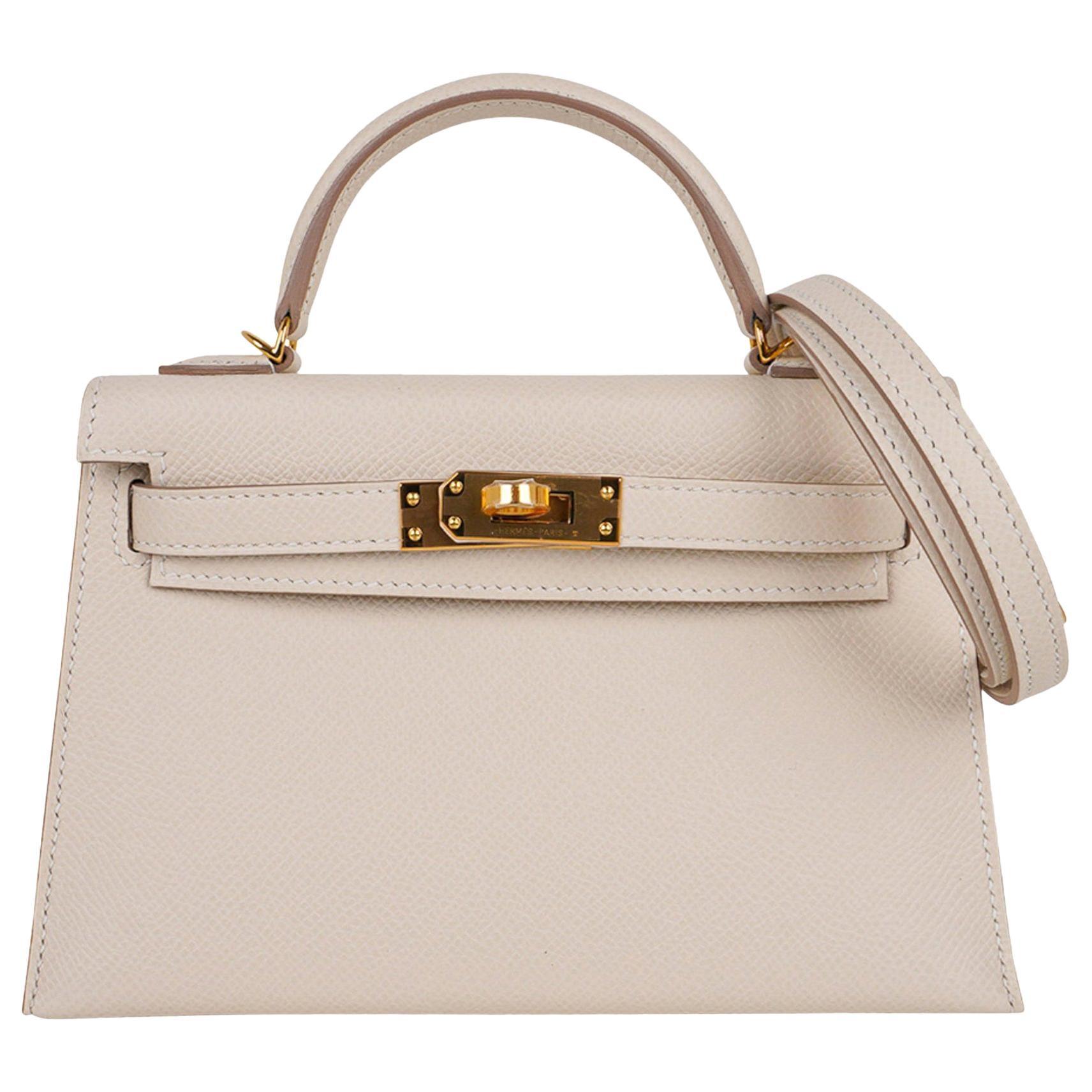 Hermes Kelly 20 Mini Sellier Bag Craie Epsom Gold Hardware