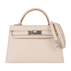 Hermes Kelly 20 Mini Sellier Bag Craie Epsom Palladium Hardware