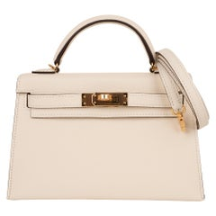 Hermes Kelly 20 Mini Sellier Bag Nata Epsom Gold Hardware