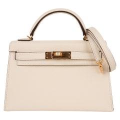 Hermes Kelly 20 Mini Sellier Bag Nata Gold Hardware Epsome Leather New w/Box