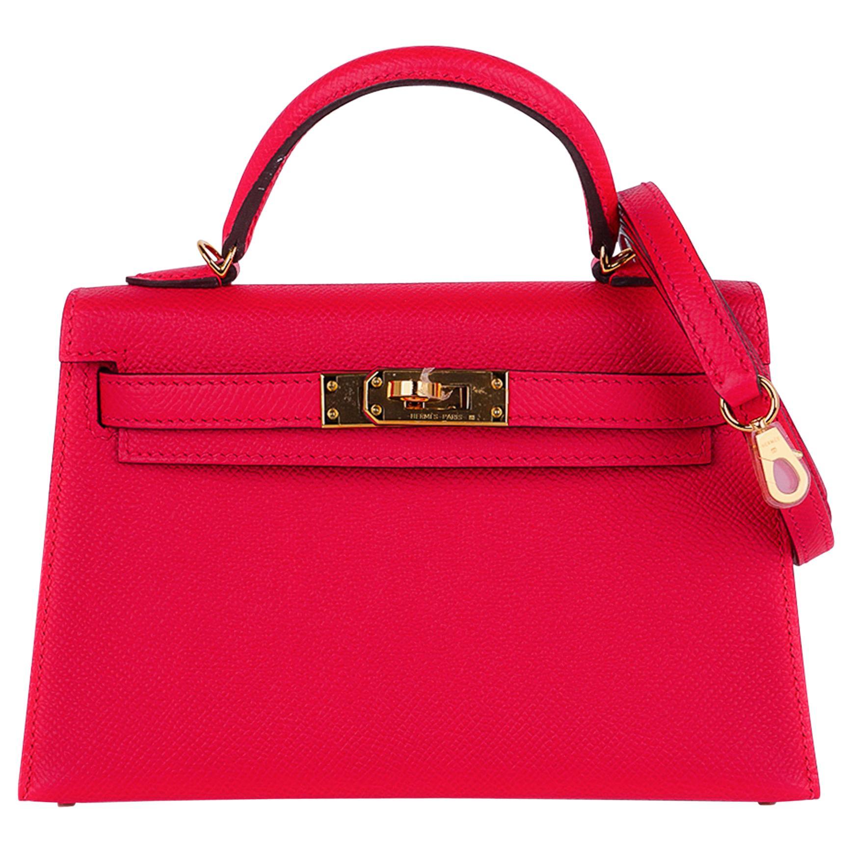 Hermes Kelly 20 Mini Sellier Bag Rose Extreme Epsom Gold Hardware