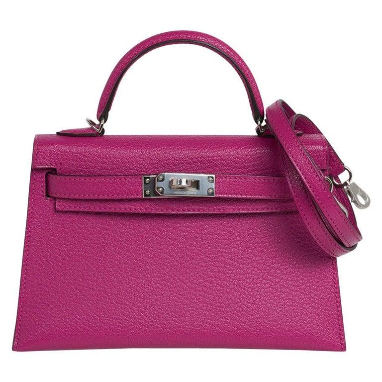 Hermes Kelly 20 Mini Sellier Bag Rose Pourpre Chevre Leather Palladium New w/Box For Sale