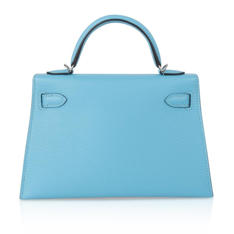 1f6487e63995 Hermes Kelly 20 Mini Sellier Rare Blue Celeste Chevre Palladium For Sale at  1stdibs