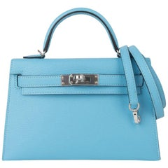 Hermes Kelly 20 Mini Sellier Rare Blue Celeste Chevre Palladium