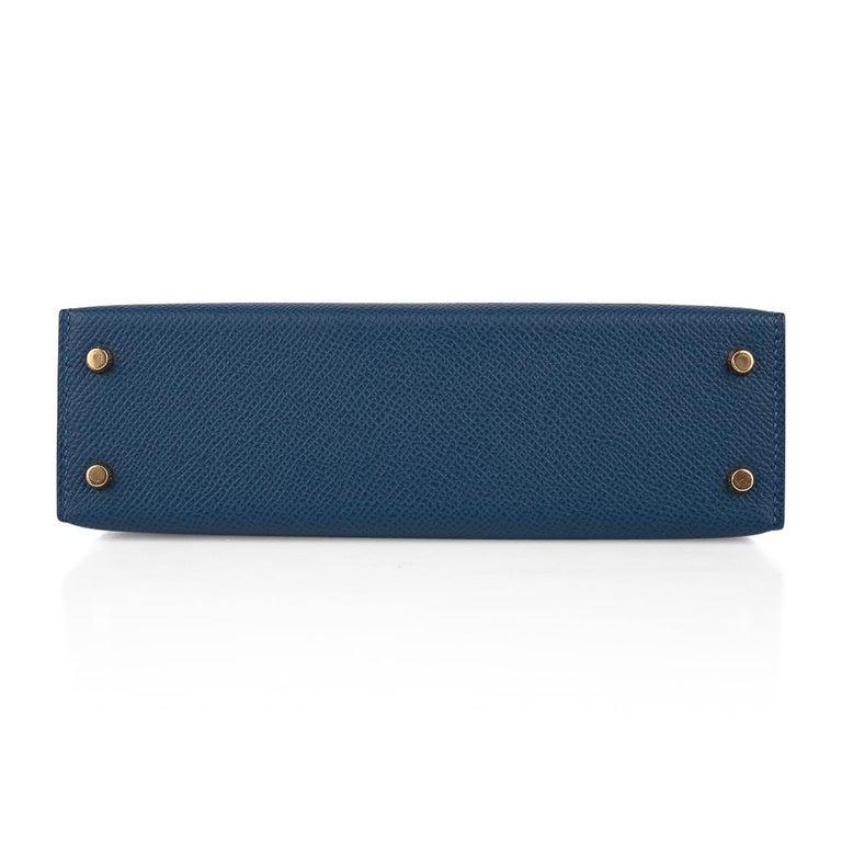 Hermes Kelly 20 Sellier Bag Deep Blue Epsom Leather Gold Hardware For Sale 6
