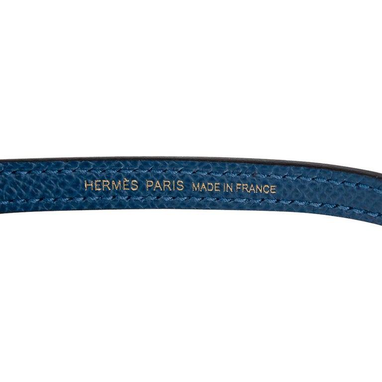 Hermes Kelly 20 Sellier Bag Deep Blue Epsom Leather Gold Hardware For Sale 7