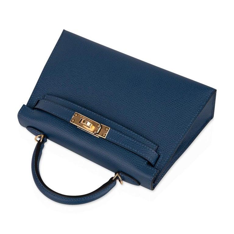 Hermes Kelly 20 Sellier Bag Deep Blue Epsom Leather Gold Hardware For Sale 1