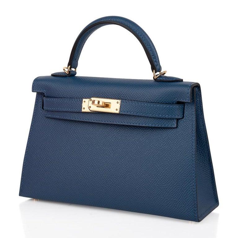 Hermes Kelly 20 Sellier Bag Deep Blue Epsom Leather Gold Hardware For Sale 2