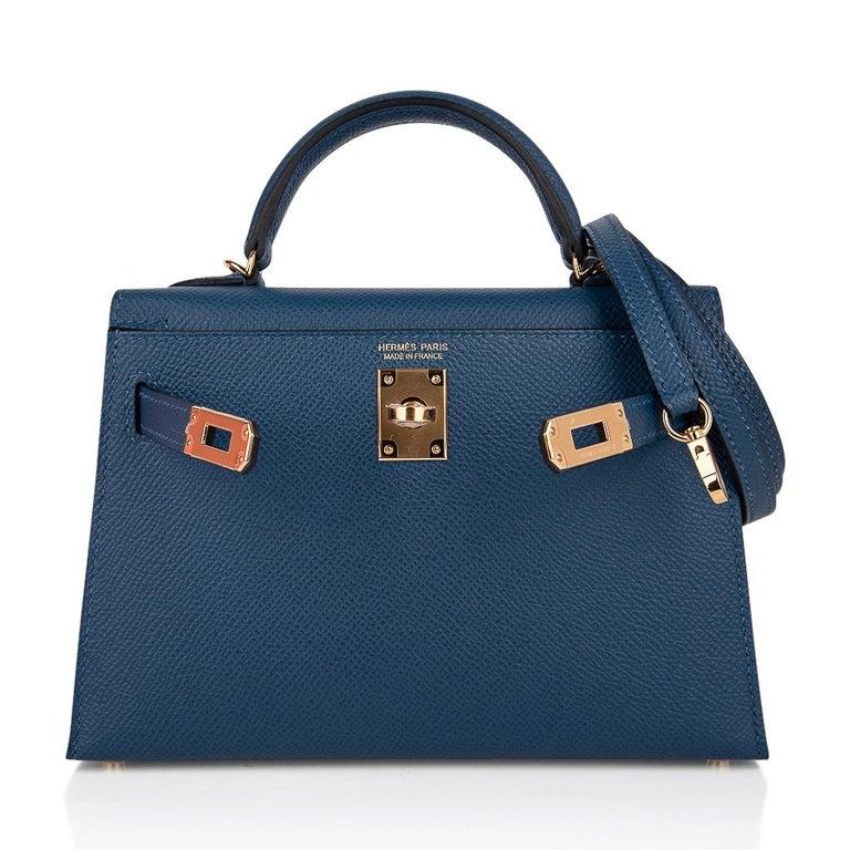 Hermes Kelly 20 Sellier Bag Deep Blue Epsom Leather Gold Hardware For Sale 3