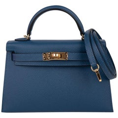 Hermes Kelly 20 Sellier Bag Deep Blue Epsom Leather Gold Hardware
