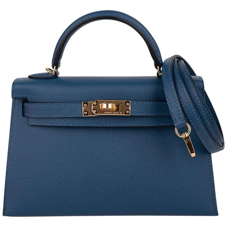 Hermes Kelly 20 Sellier Bag Deep Blue Epsom Leather Gold Hardware For Sale