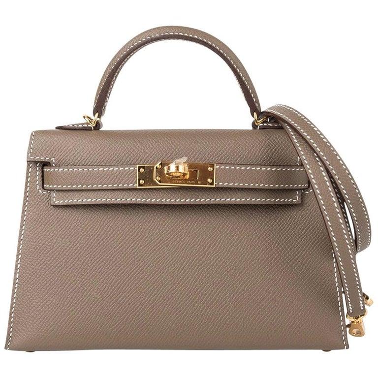 Hermes Kelly 20 Sellier Kelly Bag Etoupe Epsom Gold Hardware For Sale