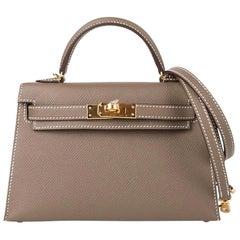 Hermes Kelly 20 Sellier Mini Bag Etoupe Epsom Gold Hardware