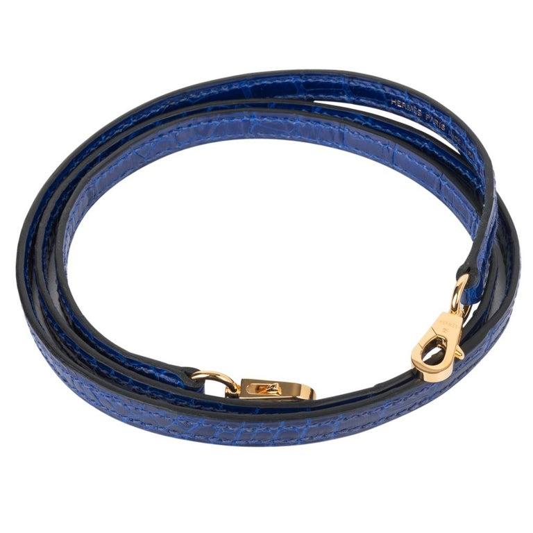 Hermes Kelly 20 Sellier Mini Blue Electric Alligator Gold Hardware For Sale 6