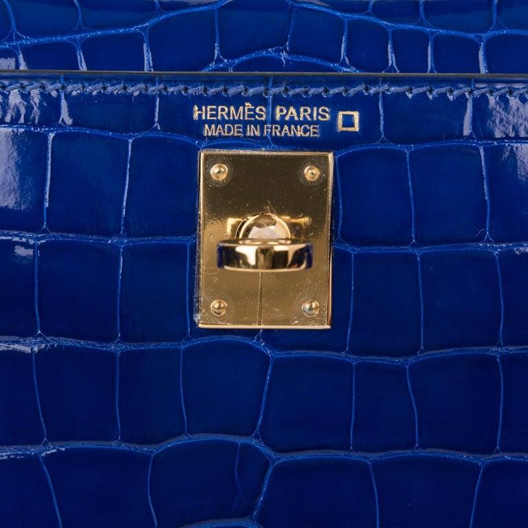 Purple Hermes Kelly 20 Sellier Mini Blue Electric Alligator Gold Hardware For Sale