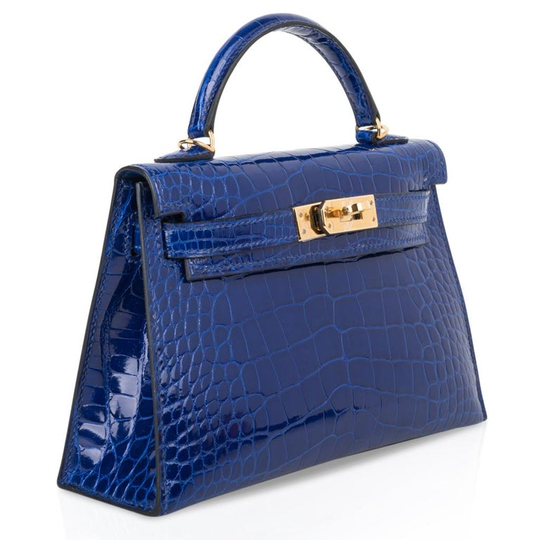 Hermes Kelly 20 Sellier Mini Blue Electric Alligator Gold Hardware In New Condition For Sale In Miami, FL