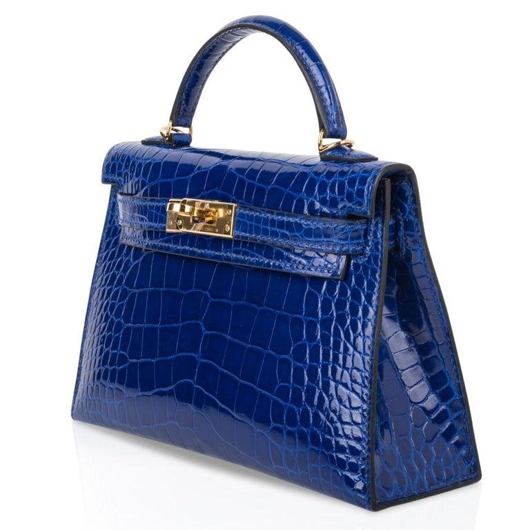 Hermes Kelly 20 Sellier Mini Blue Electric Alligator Gold Hardware For Sale 1