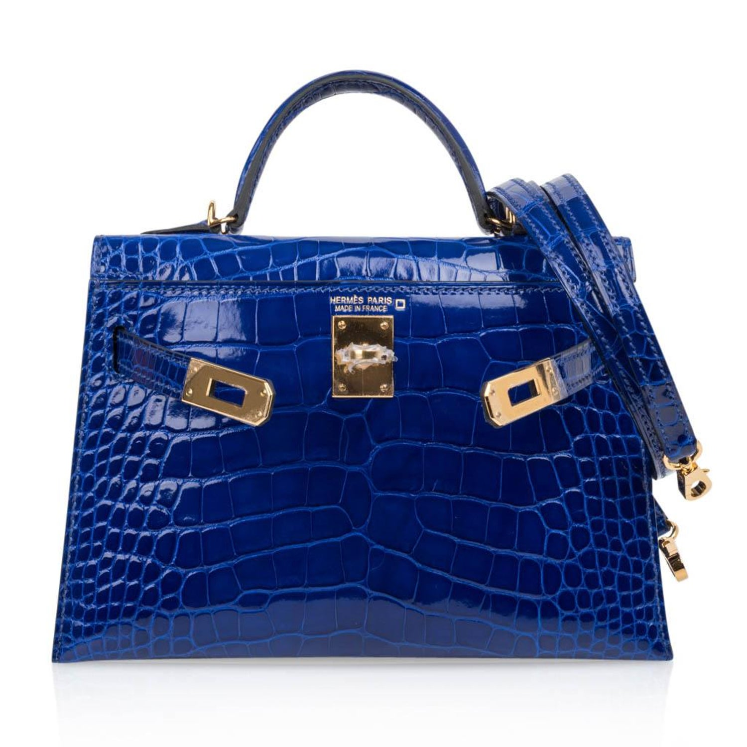 6bc84cc919cd8c Hermes Kelly 20 Sellier Mini Blue Electric Alligator Gold Hardware at  1stdibs