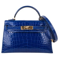 Hermes Kelly 20 Sellier Mini Blue Electric Alligator Gold Hardware