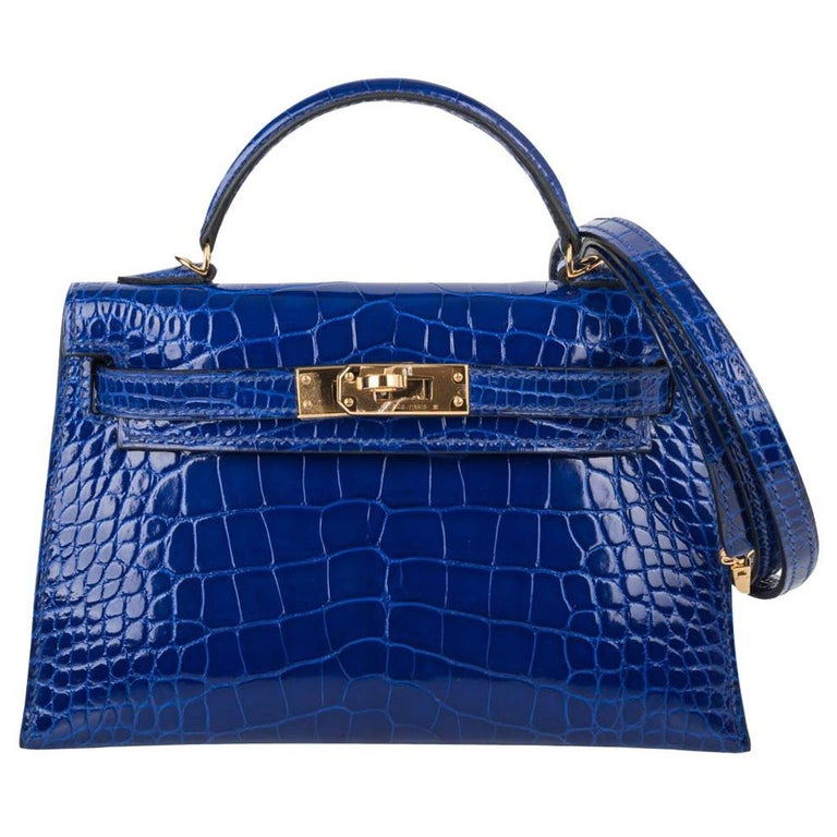 Hermes Kelly 20 Sellier Mini Blue Electric Alligator Gold Hardware New w/Box For Sale