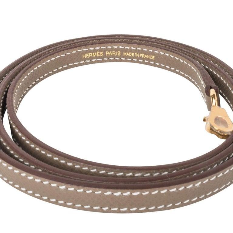 Hermes Kelly 20 Sellier Kelly Bag Etoupe Epsom Gold Hardware For Sale 5