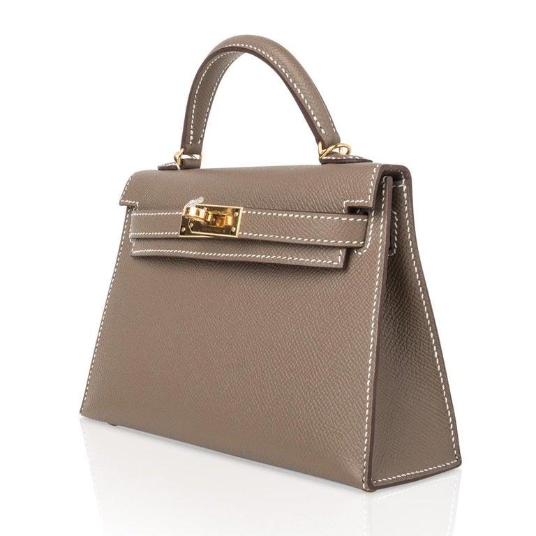 Hermes Kelly 20 Sellier Kelly Bag Etoupe Epsom Gold Hardware For Sale 1