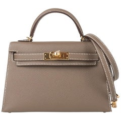 Hermes Kelly 20 Sellier Mini Kelly II Etoupe Limited Edition Epsom Gold Hardware