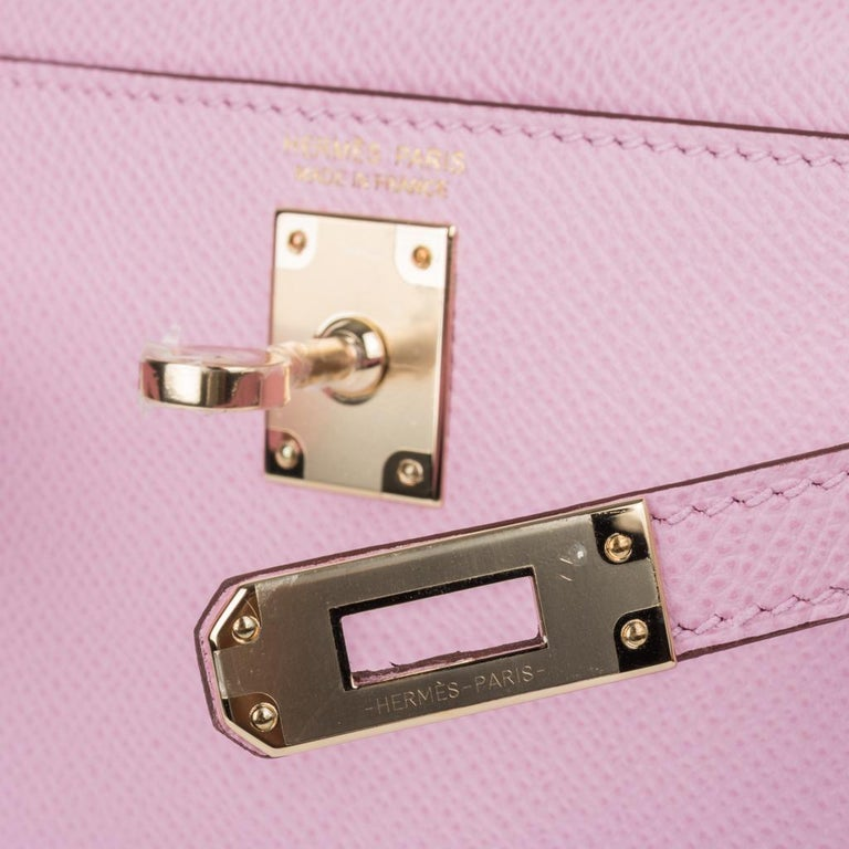 Guaranteed authentic Hermes Kelly 20 Sellier Mini ll bag.  Rare and coveted Mauve Sylvestre Epsom leather with permabrass hardware. Carry by hand, shoulder or cross body.  Divine size for day to evening. Comes with shoulder strap, signature Hermes